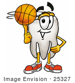 #25327 Clip Art Graphic of a Human Molar Tooth Character Spinning a Basketball on His Finger by toons4biz