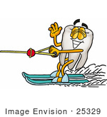 #25329 Clip Art Graphic Of A Human Molar Tooth Character Waving While Water Skiing