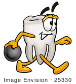 #25330 Clip Art Graphic of a Human Molar Tooth Character Holding a Bowling Ball by toons4biz