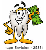#25331 Clip Art Graphic of a Human Molar Tooth Character Holding a Dollar Bill by toons4biz