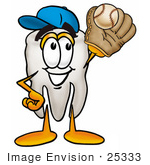 #25333 Clip Art Graphic Of A Human Molar Tooth Character Catching A Baseball With A Glove
