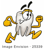 #25339 Clip Art Graphic Of A Human Molar Tooth Character Running