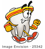#25342 Clip Art Graphic of a Human Molar Tooth Character Speed Walking or Jogging by toons4biz