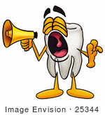 #25344 Clip Art Graphic Of A Human Molar Tooth Character Screaming Into A Megaphone