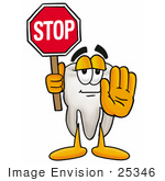 #25346 Clip Art Graphic Of A Human Molar Tooth Character Holding A Stop Sign