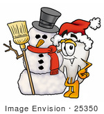 #25350 Clip Art Graphic of a Human Molar Tooth Character With a Snowman on Christmas by toons4biz