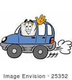 #25352 Clip Art Graphic Of A Human Molar Tooth Character Driving A Blue Car And Waving