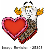 #25353 Clip Art Graphic Of A Human Molar Tooth Character With An Open Box Of Valentines Day Chocolate Candies