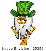 #25354 Clip Art Graphic of a Human Molar Tooth Character Wearing a Saint Patricks Day Hat With a Clover on it by toons4biz