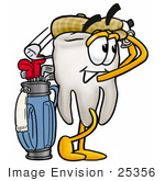 #25356 Clip Art Graphic Of A Human Molar Tooth Character Swinging His Golf Club While Golfing
