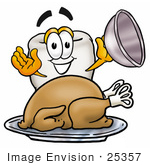 #25357 Clip Art Graphic of a Human Molar Tooth Character Serving a Thanksgiving Turkey on a Platter by toons4biz