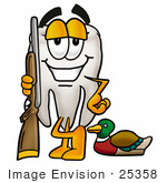#25358 Clip Art Graphic of a Human Molar Tooth Character Duck Hunting, Standing With a Rifle and Duck by toons4biz