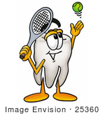 #25360 Clip Art Graphic Of A Human Molar Tooth Character Preparing To Hit A Tennis Ball
