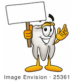 #25361 Clip Art Graphic of a Human Molar Tooth Character Holding a Blank Sign by toons4biz