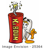 #25364 Clip Art Graphic Of A Human Molar Tooth Character Standing With A Lit Stick Of Dynamite