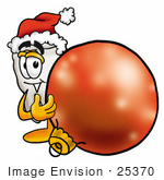 #25370 Clip Art Graphic Of A Human Molar Tooth Character Wearing A Santa Hat Standing With A Christmas Bauble