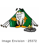 #25372 Clip Art Graphic Of A Human Molar Tooth Character Camping With A Tent And Fire