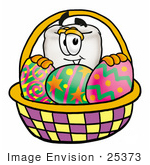 #25373 Clip Art Graphic Of A Human Molar Tooth Character In An Easter Basket Full Of Decorated Easter Eggs