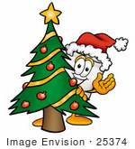 #25374 Clip Art Graphic Of A Human Molar Tooth Character Waving And Standing By A Decorated Christmas Tree