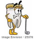 #25376 Clip Art Graphic of a Human Molar Tooth Character Leaning on a Golf Club While Golfing by toons4biz