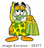 #25377 Clip Art Graphic Of A Human Molar Tooth Character In Green And Yellow Snorkel Gear