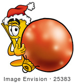 #25383 Clip Art Graphic Of A Golden Admission Ticket Character Wearing A Santa Hat Standing With A Christmas Bauble