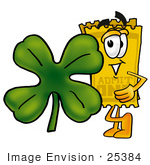 #25384 Clip Art Graphic Of A Golden Admission Ticket Character With A Green Four Leaf Clover On St Paddy'S Or St Patricks Day