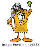 #25386 Clip Art Graphic Of A Golden Admission Ticket Character Preparing To Hit A Tennis Ball