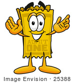 #25388 Clip Art Graphic Of A Golden Admission Ticket Character With Welcoming Open Arms