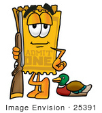 #25391 Clip Art Graphic Of A Golden Admission Ticket Character Duck Hunting Standing With A Rifle And Duck