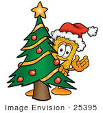 #25395 Clip Art Graphic Of A Golden Admission Ticket Character Waving And Standing By A Decorated Christmas Tree