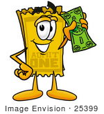 #25399 Clip Art Graphic of a Golden Admission Ticket Character Holding a Dollar Bill by toons4biz