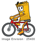 #25400 Clip Art Graphic Of A Golden Admission Ticket Character Riding A Bicycle
