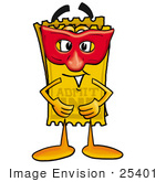 #25401 Clip Art Graphic Of A Golden Admission Ticket Character Wearing A Red Mask Over His Face