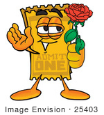 #25403 Clip Art Graphic Of A Golden Admission Ticket Character Holding A Red Rose On Valentines Day