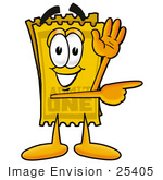 #25405 Clip Art Graphic Of A Golden Admission Ticket Character Waving And Pointing