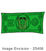 #25406 Clip Art Graphic Of A Golden Admission Ticket Character On A Dollar Bill