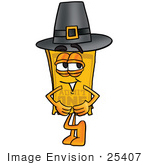 #25407 Clip Art Graphic Of A Golden Admission Ticket Character Wearing A Pilgrim Hat On Thanksgiving