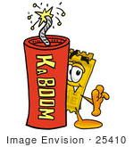 #25410 Clip Art Graphic Of A Golden Admission Ticket Character Standing With A Lit Stick Of Dynamite