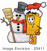 #25411 Clip Art Graphic Of A Golden Admission Ticket Character With A Snowman On Christmas