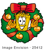 #25412 Clip Art Graphic Of A Golden Admission Ticket Character In The Center Of A Christmas Wreath