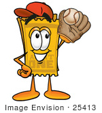 #25413 Clip Art Graphic Of A Golden Admission Ticket Character Catching A Baseball With A Glove