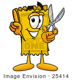 #25414 Clip Art Graphic Of A Golden Admission Ticket Character Holding A Pair Of Scissors