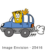 #25416 Clip Art Graphic Of A Golden Admission Ticket Character Driving A Blue Car And Waving