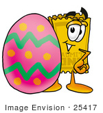 #25417 Clip Art Graphic Of A Golden Admission Ticket Character Standing Beside An Easter Egg