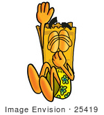 #25419 Clip Art Graphic Of A Golden Admission Ticket Character Plugging His Nose While Jumping Into Water
