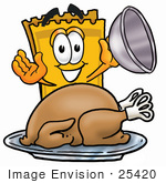 #25420 Clip Art Graphic Of A Golden Admission Ticket Character Serving A Thanksgiving Turkey On A Platter