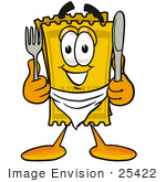 #25422 Clip Art Graphic Of A Golden Admission Ticket Character Holding A Knife And Fork