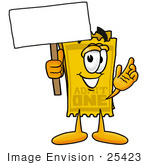#25423 Clip Art Graphic Of A Golden Admission Ticket Character Holding A Blank Sign