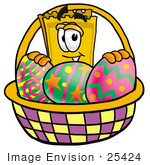 #25424 Clip Art Graphic Of A Golden Admission Ticket Character In An Easter Basket Full Of Decorated Easter Eggs